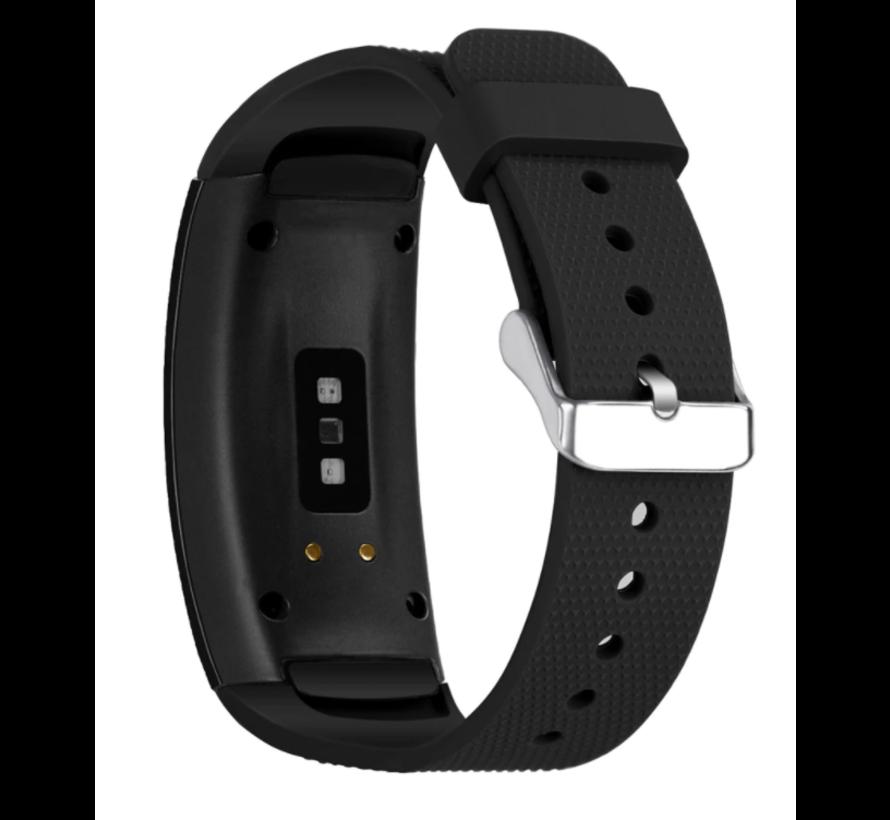 Strap-it® Samsung Gear Fit 2 / Gear Fit 2 Pro siliconen bandje (zwart)