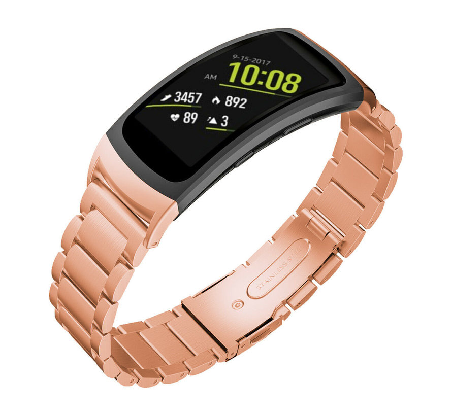 Strap-it® Samsung Gear Fit 2 / Gear Fit 2 Pro stalen band (rosé goud)