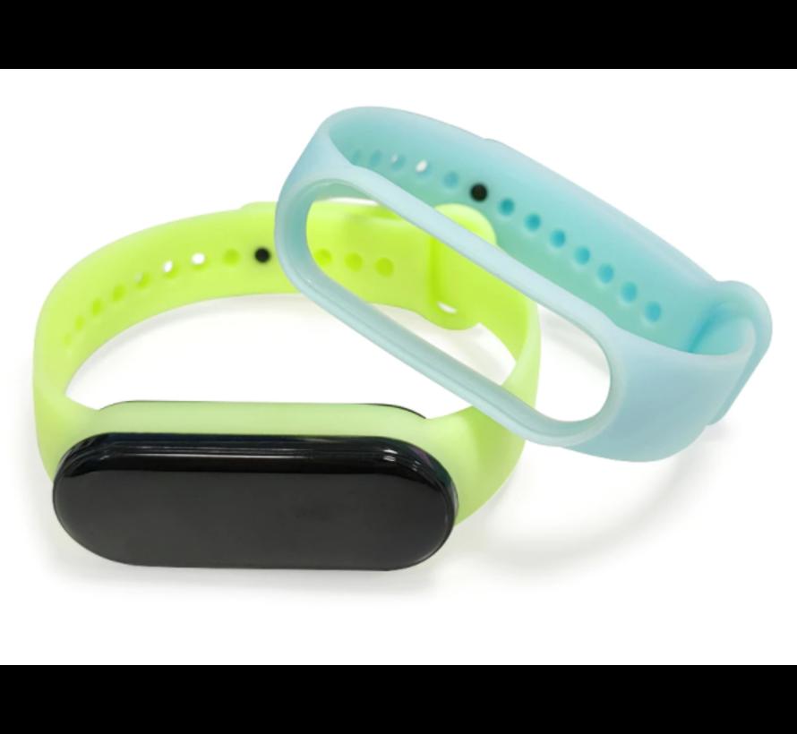 Strap-it® Xiaomi Mi band 5 siliconen bandje (lichtgevend geel)