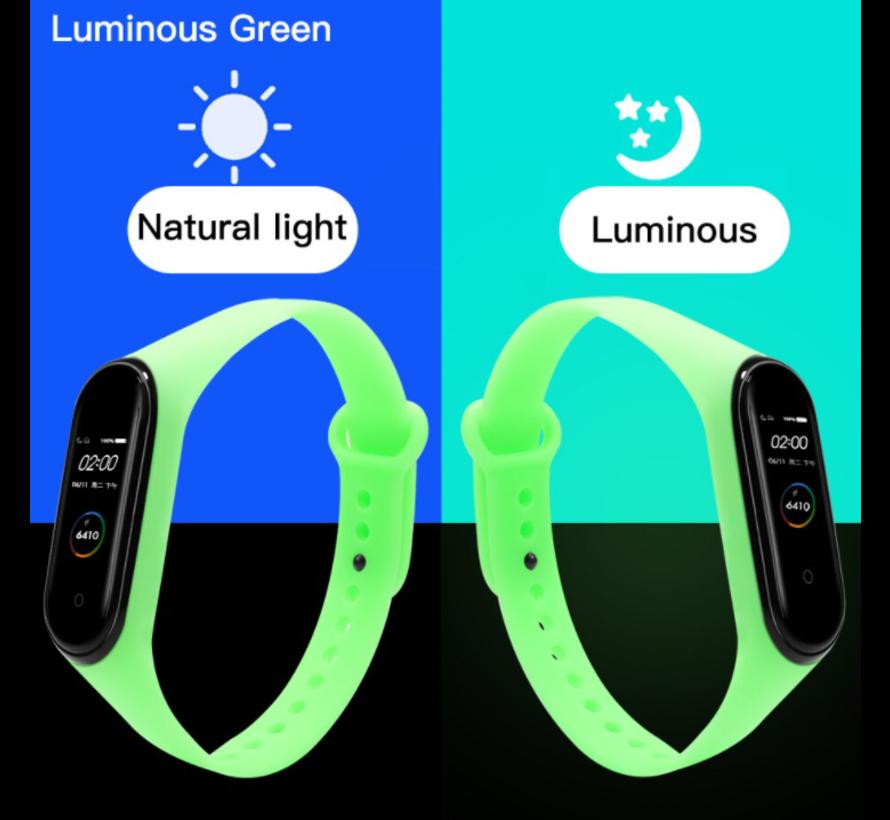 Strap-it® Xiaomi Mi band 5 siliconen bandje (lichtgevend groen)
