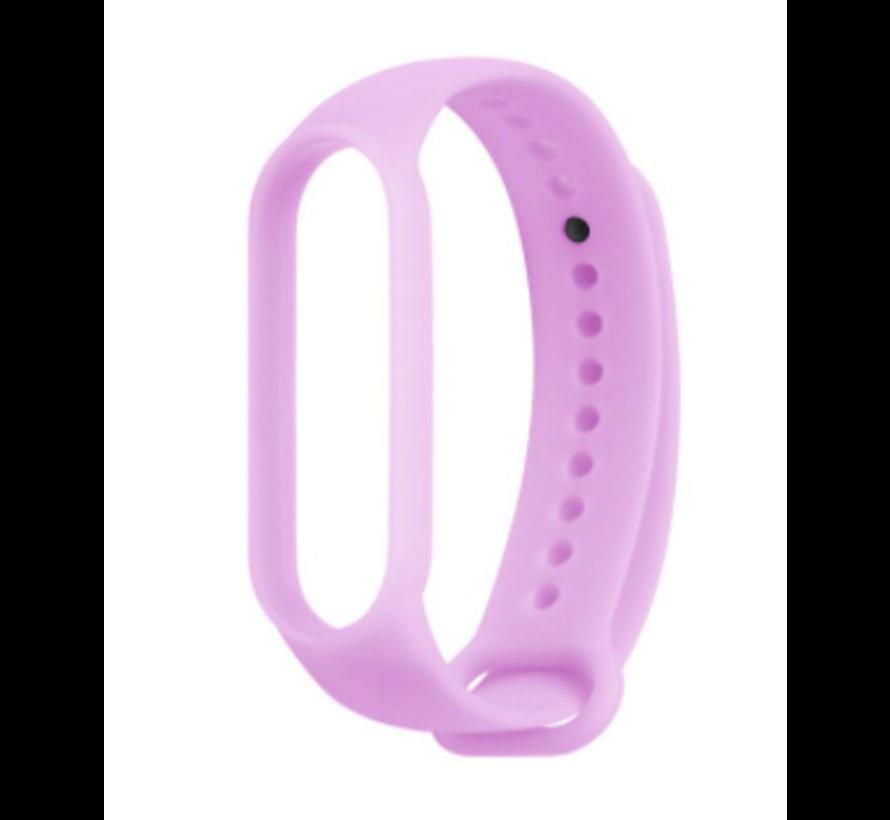 Strap-it® Xiaomi Mi band 5 siliconen bandje (lichtgevend paars)