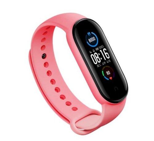 Strap-it® Strap-it® Xiaomi Mi band 5 siliconen bandje (roze)