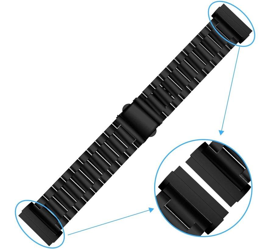 Strap-it® Fitbit Versa 3 stalen band (zwart)