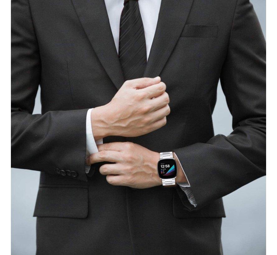 Strap-it® Fitbit Versa 3 stalen band (zilver)