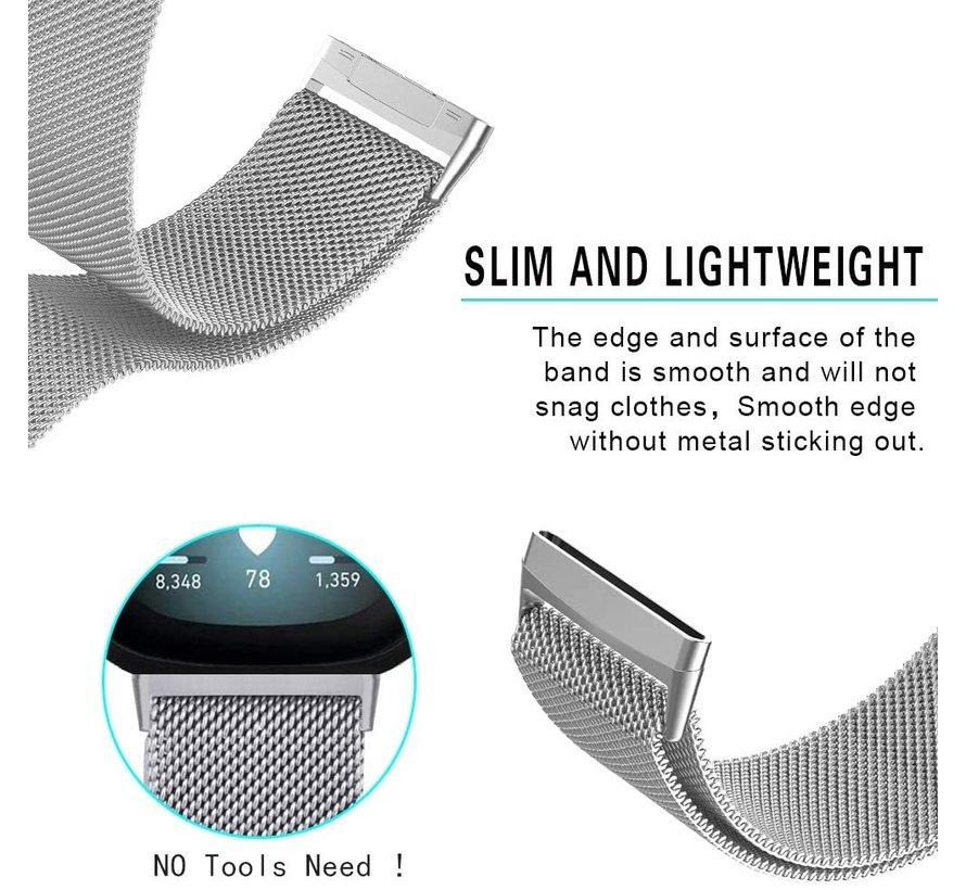Strap-it® Fitbit Versa 3 Milanese band (zilver)