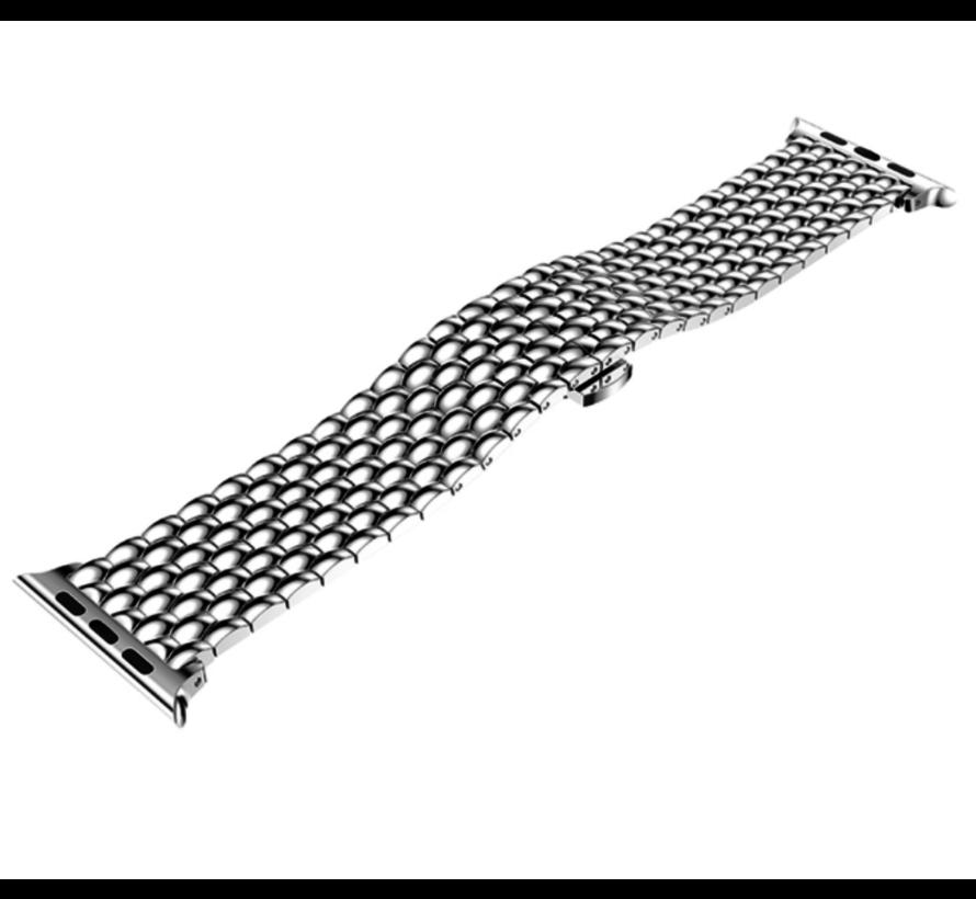 Strap-it® Apple Watch stalen draak band (zilver)