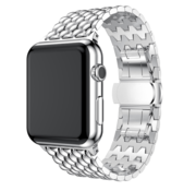 Strap-it® Apple Watch stalen draak band (zilver)