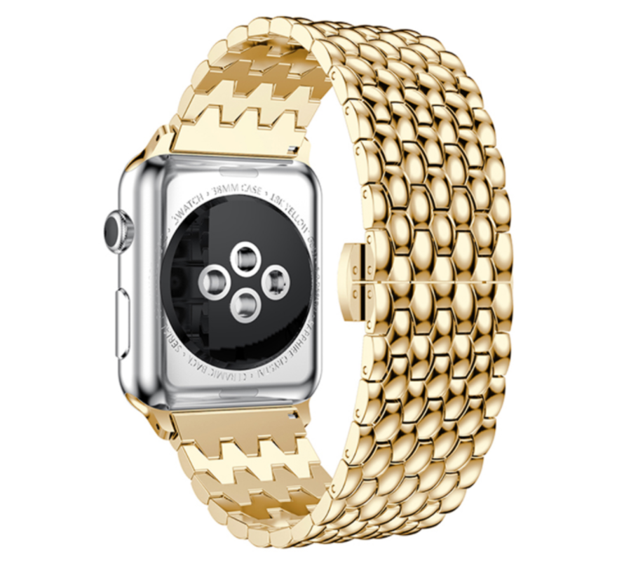 Strap-it® Apple Watch stalen draak band (goud)