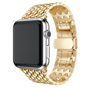 Strap-it® Apple Watch stalen draak band (goud)
