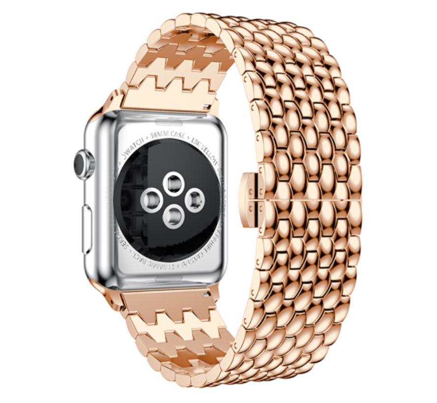 Strap-it® Apple Watch stalen draak band (rosé goud)