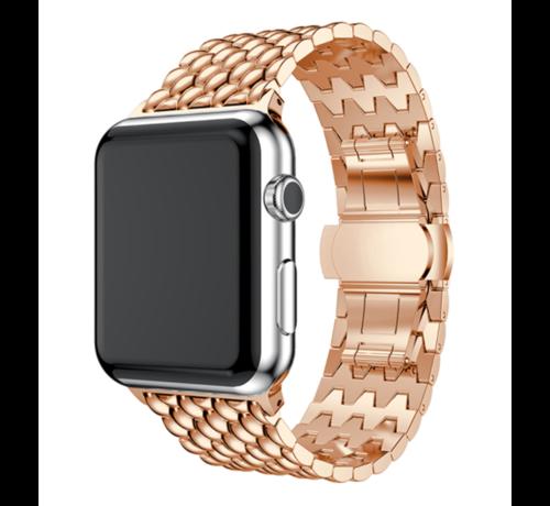 Strap-it® Strap-it® Apple Watch stalen draak band (rosé goud)
