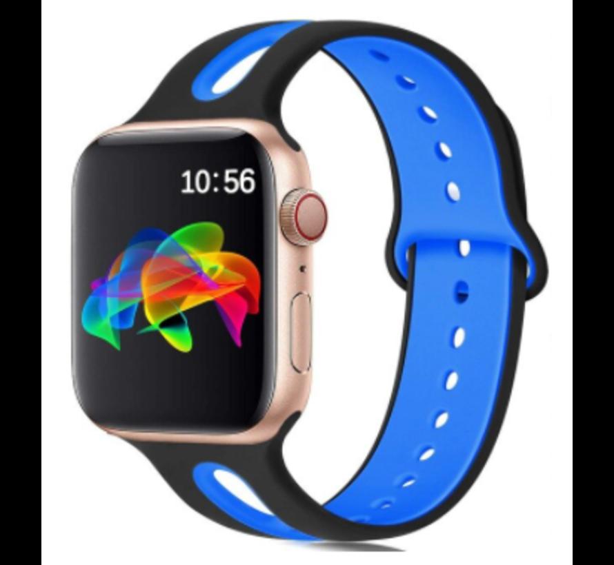 Strap-it® Apple Watch sport duo band (zwart/blauw)