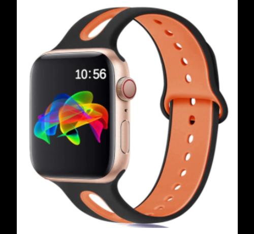 Strap-it® Strap-it® Apple Watch sport duo band (zwart/oranje)
