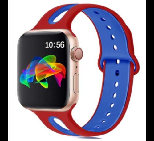 Strap-it® Strap-it® Apple Watch sport duo band (rood/blauw)