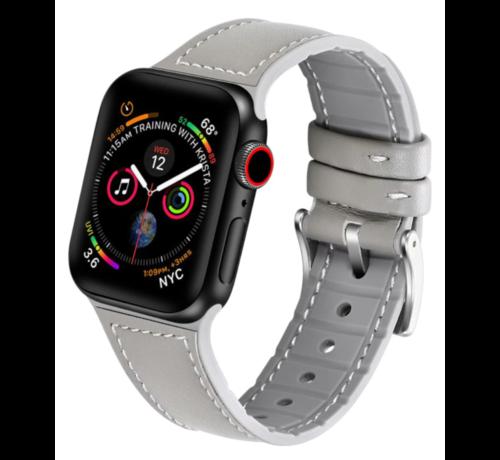 Strap-it® Strap-it® Apple Watch lederen bandje (wit/grijs)