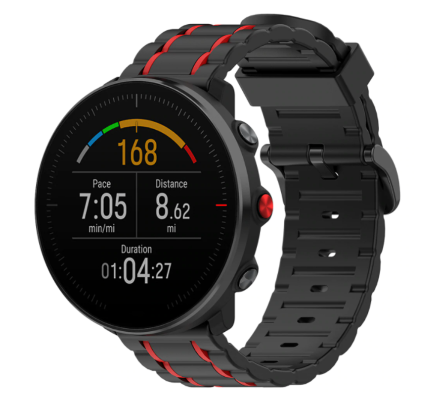 Strap-it® Polar Ignite sport gesp band (zwart/rood)