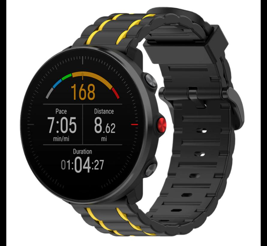 Strap-it® Polar Ignite sport gesp band (zwart/geel)