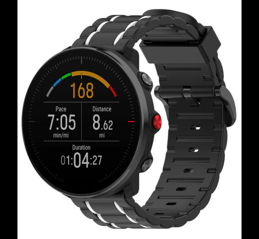 Strap-it® Polar Ignite sport gesp band (zwart/wit)