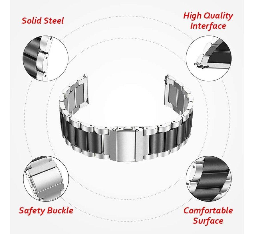 Strap-it® Polar Ignite stalen band (zilver/zwart)
