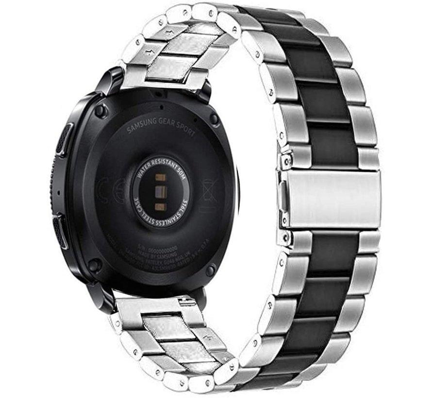 Strap-it® Samsung Gear Sport stalen band (zilver/zwart)