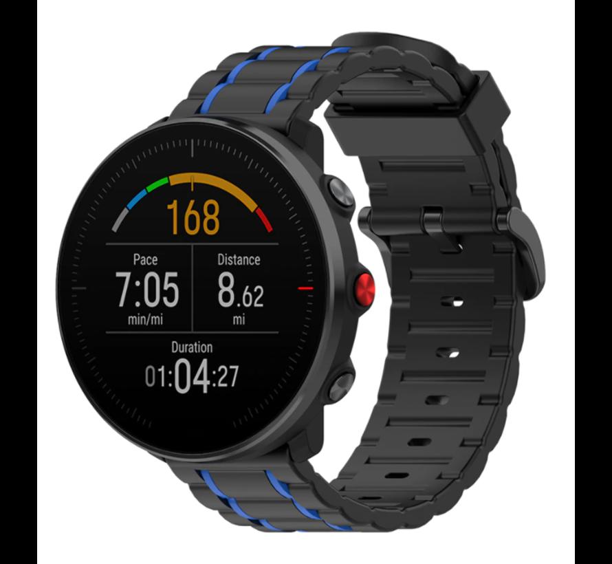 Strap-it® Polar Vantage M sport gesp band (zwart/blauw)