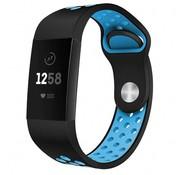 Strap-it® Fitbit Charge 4 sportband (zwart blauw)