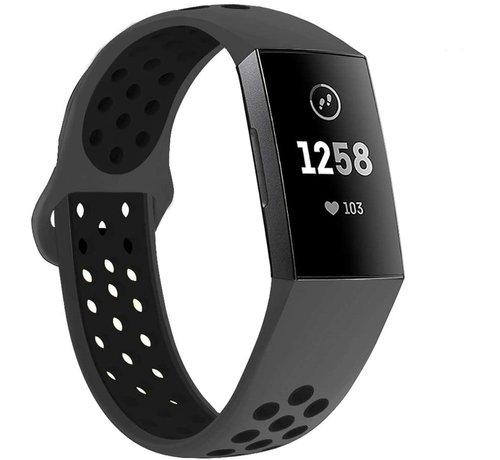 Strap-it® Strap-it® Fitbit Charge 3 sport bandje (donkergrijs/zwart)