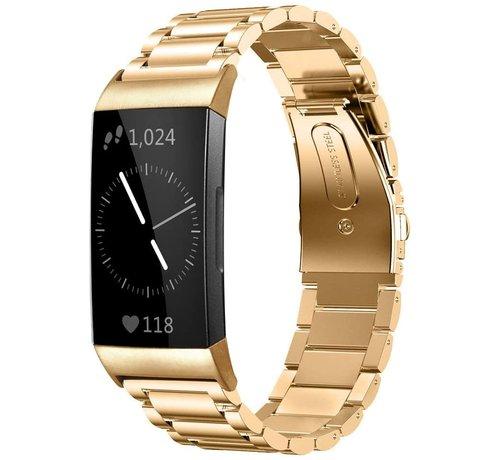 Strap-it® Strap-it® Fitbit Charge 3 stalen bandje (goud)