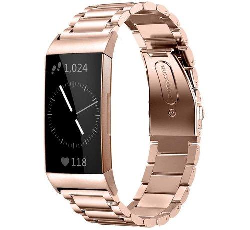 Strap-it® Strap-it® Fitbit Charge 3 stalen bandje (rosé goud)