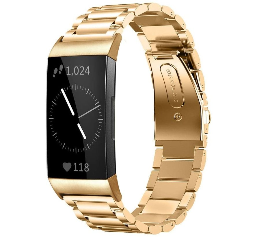 Strap-it® Fitbit Charge 4 stalen band (goud)
