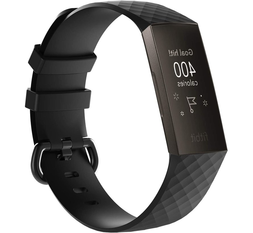 Strap-it® Fitbit Charge 3 silicone band (zwart)