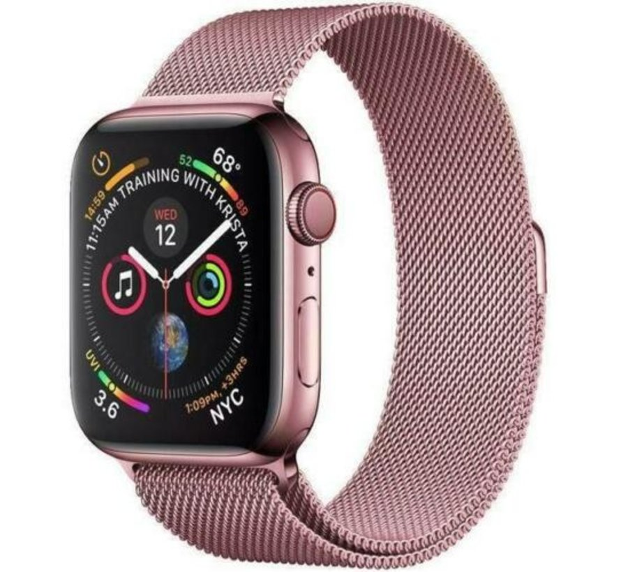 Strap-it® Apple Watch Milanese  band (roze)