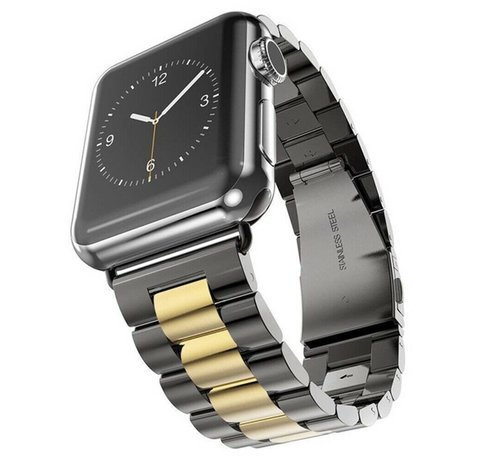 Strap-it® Strap-it® Apple Watch stalen band (zwart/goud)