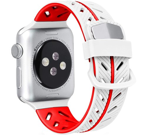 Strap-it® Strap-it® Apple Watch Special Edition band (wit/rood)