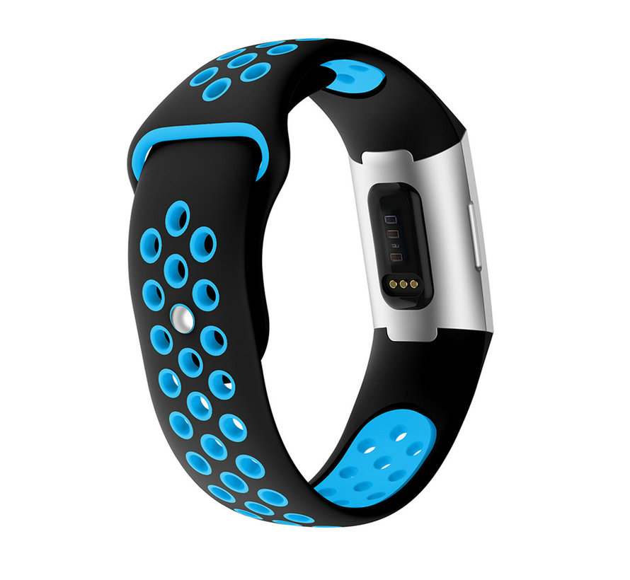 Strap-it® Fitbit Charge 3 sport bandje (zwart/blauw)