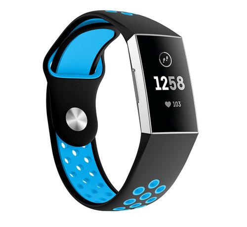 Strap-it® Strap-it® Fitbit Charge 3 sport bandje (zwart/blauw)