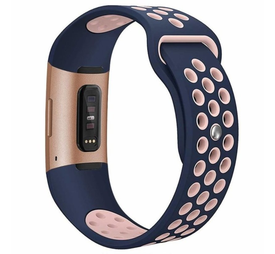 Strap-it® Fitbit Charge 4 sportband (donkerblauw/roze)