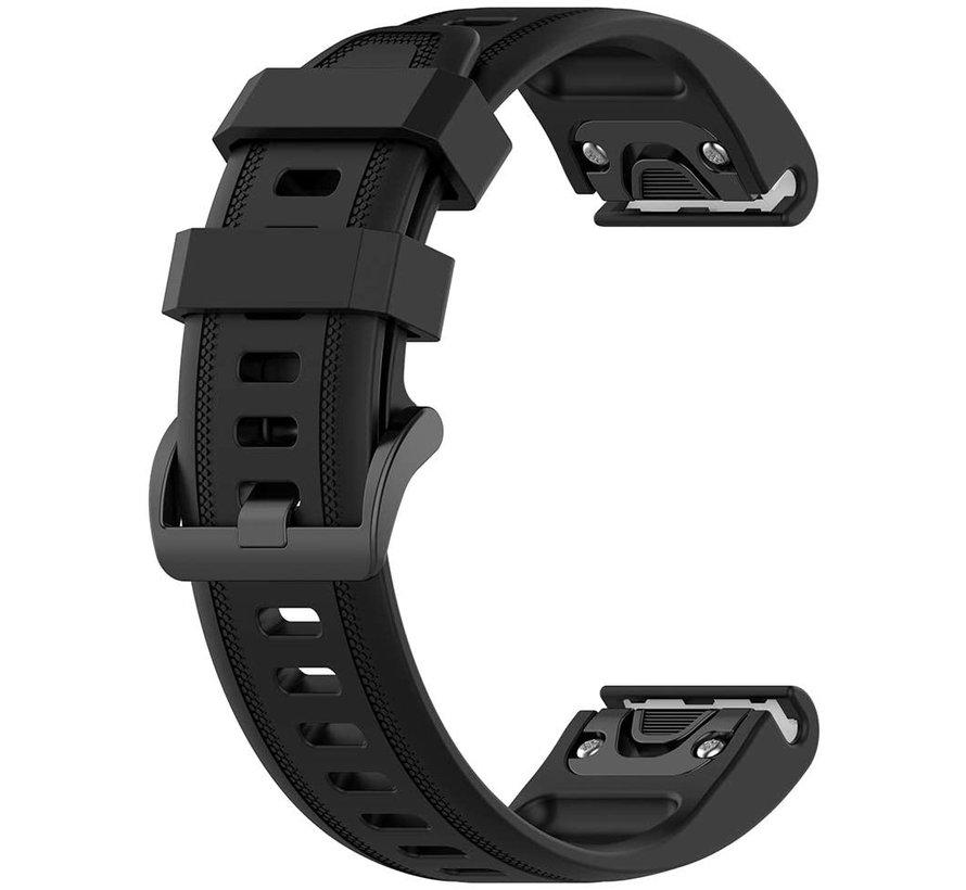Strap-it® Garmin Fenix 5s / 6s siliconen bandje (zwart)