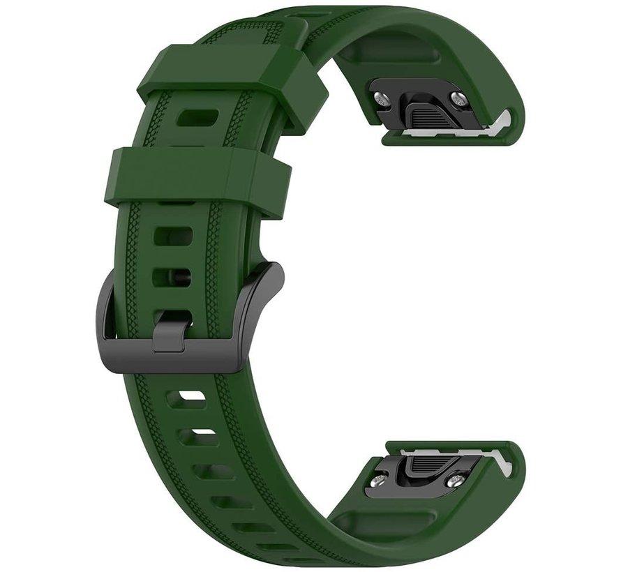 Strap-it® Garmin Fenix 5s / 6s siliconen bandje (legergroen)