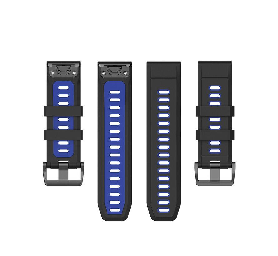 Strap-it® Garmin Fenix 5s / 6s sport gesp band (zwart/blauw)