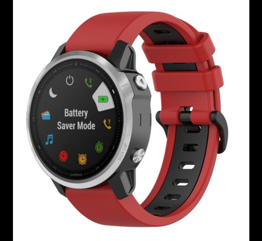 Strap-it® Garmin Fenix 5s / 6s sport gesp band (rood/zwart)