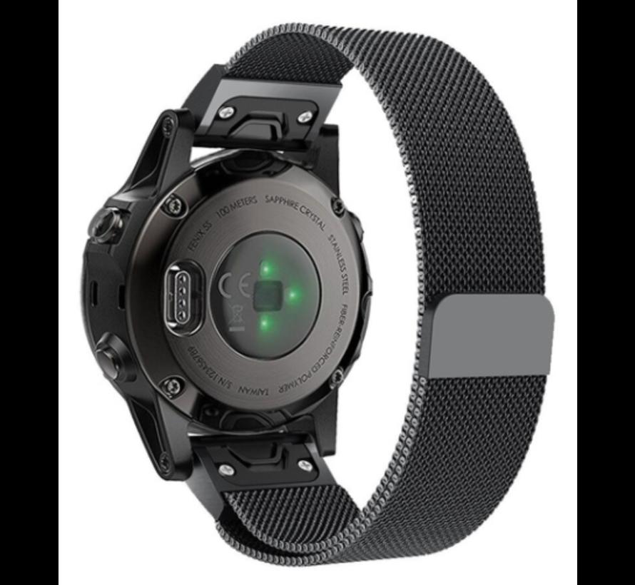 Strap-it® Garmin Fenix 5s / 6s Milanese band (zwart)