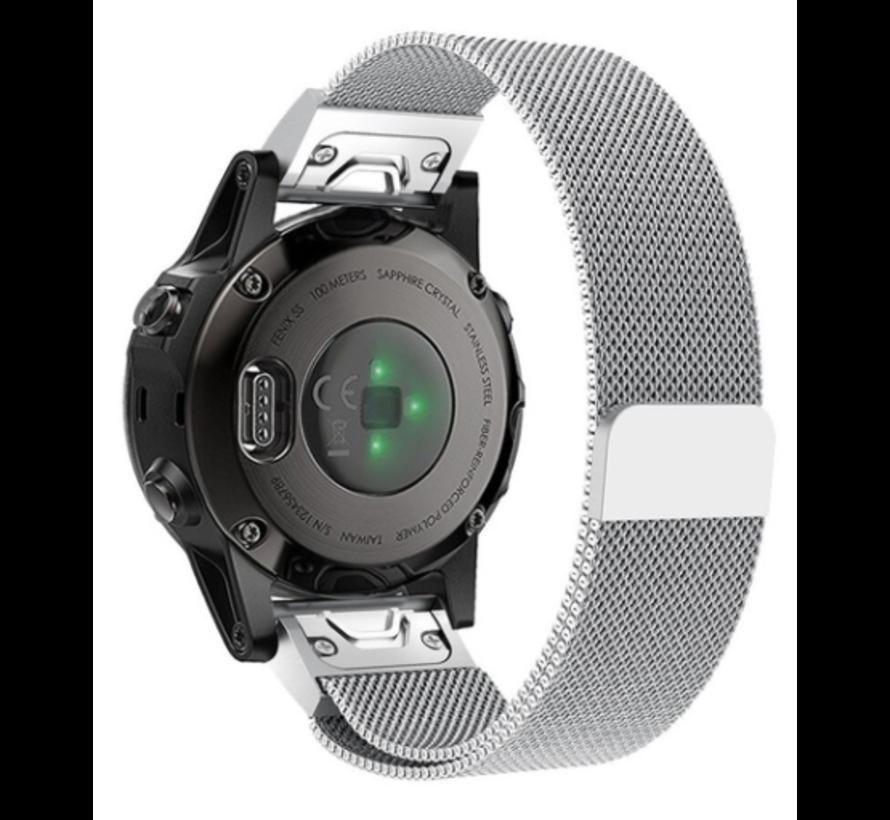Strap-it® Garmin Fenix 5s / 6s Milanese band (zilver)