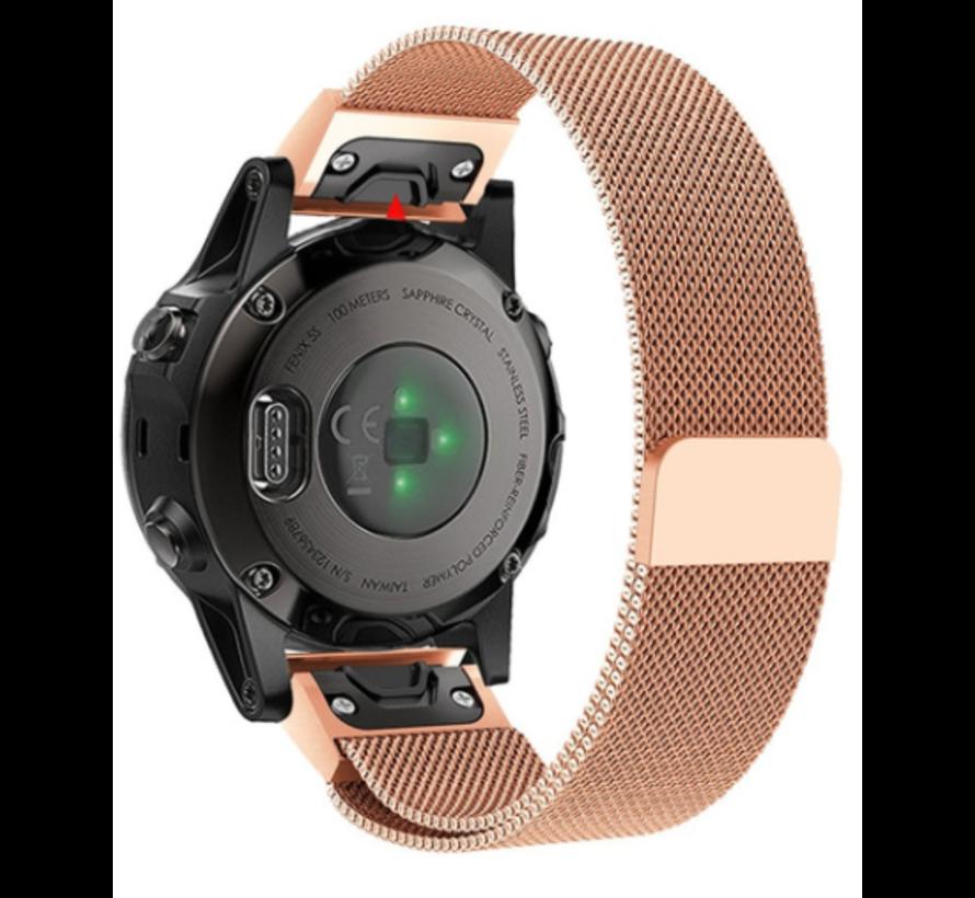 Strap-it® Garmin Fenix 5s / 6s Milanese band (rosé goud)