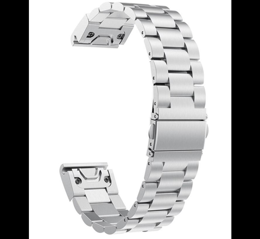 Strap-it® Garmin Fenix 5s / 6s stalen band (zilver)