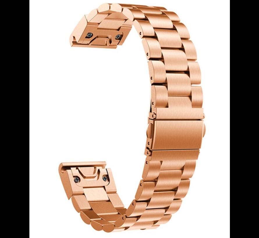 Strap-it® Garmin Fenix 5s / 6s stalen band (rosé goud)