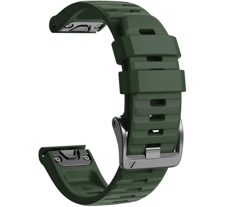 Strap-it® Garmin Fenix 5x / 6x siliconen bandje (donkergroen)
