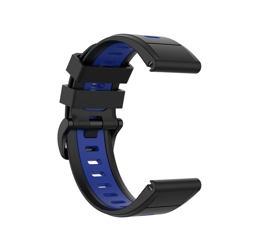 Strap-it® Garmin Fenix 5x / 6x sport gesp band (zwart/blauw)