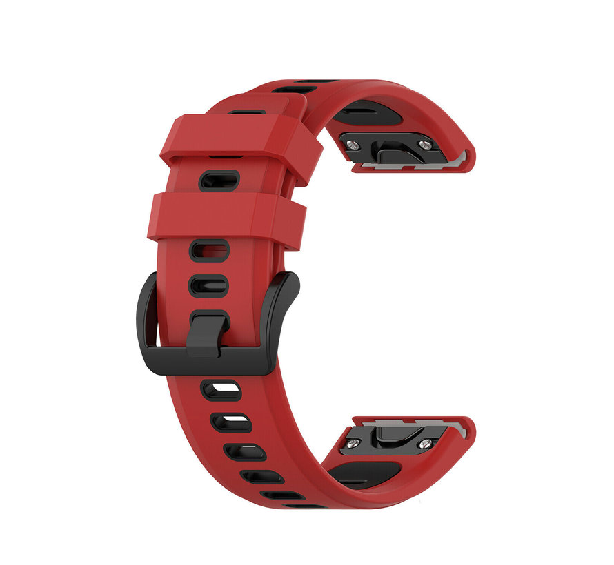 Strap-it® Garmin Fenix 5x / 6x sport gesp band (rood/zwart)