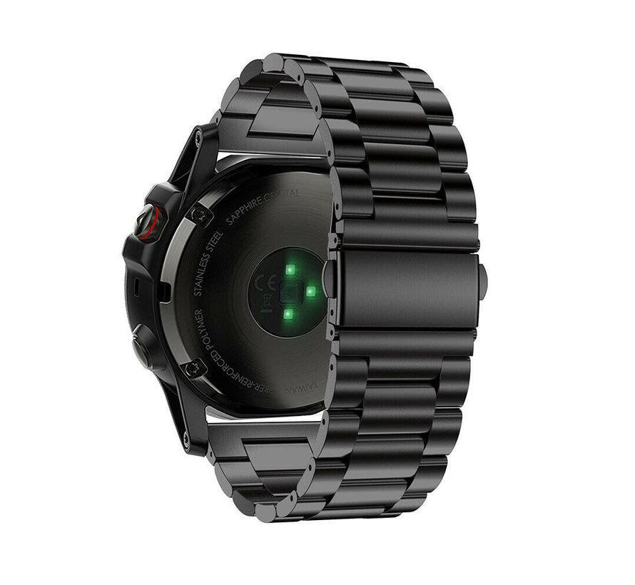 Strap-it® Garmin Fenix 5x / 6x stalen band (zwart)